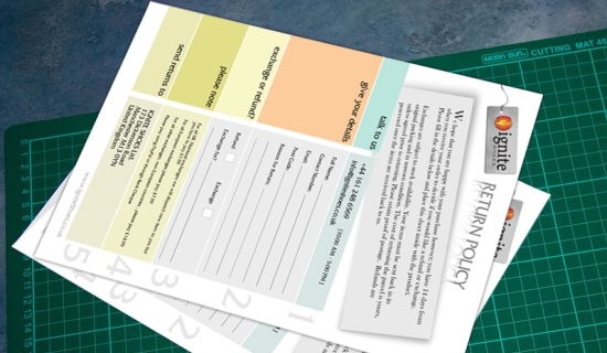 Ignite Shoes Return Forms Printing